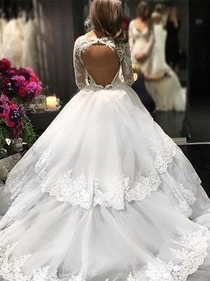 Gorgeous Lace Tulle Court Train Long Sleeves V-neck Puffy Wedding Dresses   Bridal Gowns On Sale_3