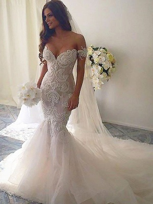 Glamorous Off-the-Shoulder Tulle Chapel Train Sleeveless Mermaid Wedding Dresses | Bridal Gowns On Sale_3