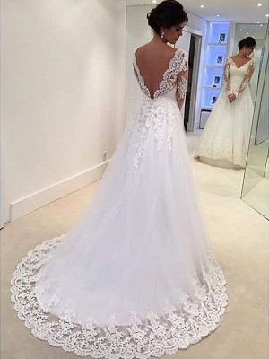 Unique V-neck Puffy Tulle Court Train Lace Wedding Dresses Long Sleeves | Bridal Gowns On Sale_3