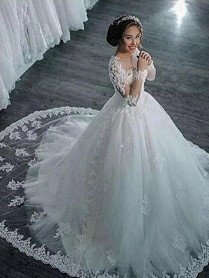 Elegant Scoop Applique Long Sleeves Tulle Wedding Dresses Puffy Chapel Train | Bridal Gowns Online_4