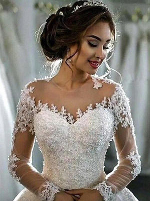 Elegant Scoop Applique Long Sleeves Tulle Wedding Dresses Puffy Chapel Train | Bridal Gowns Online_6