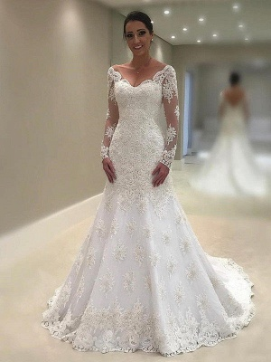 Chic Long-Sleeves Court Train Wedding Dresses V-Neck Applique Lace Mermaid Bridal Gowns Online_1