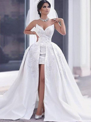 Elegant Sleeveless Chapel Train Sweetheart Beaded Satin Puffy Wedding Dresses | Bridal Gowns On Sale_3