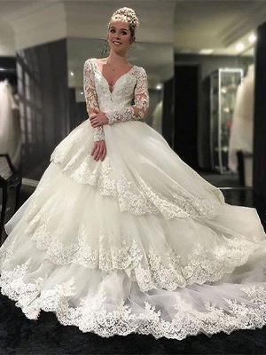 Gorgeous Lace Tulle Court Train Long Sleeves V-neck Puffy Wedding Dresses   Bridal Gowns On Sale_1