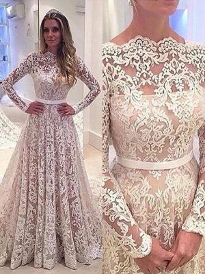 Stylish Bateau Lace A-Line Wedding Dresses Long Sleeves Court Train Bridal Gowns Online_1