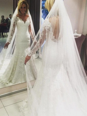 Gorgeous Sweep Train V-neck Long Sleeves Lace Column Wedding Dresses   Bridal Gowns Online_1