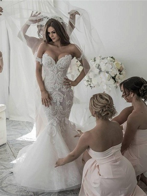 Glamorous Off-the-Shoulder Tulle Chapel Train Sleeveless Mermaid Wedding Dresses | Bridal Gowns On Sale_1