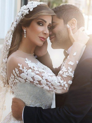 Stylish Satin Jewel Chapel Train Lace Wedding Dresses Long-Sleeves Appliques Bridal Gowns Online_3