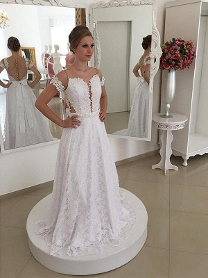 Elegant Sweep Train Scoop Lace Short Sleeves Wedding Dresses | Bridal Gowns On Sale_1
