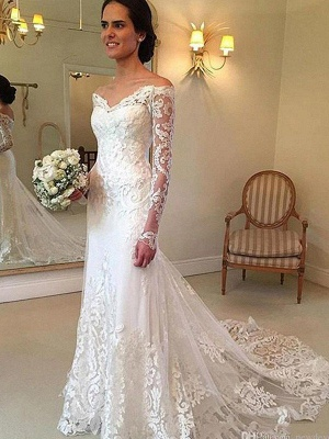 Gorgeous Off-the-Shoulder Lace Mermaid Wedding Dresses Long-Sleeves Appliques Court Train Bridal Gowns Online_3