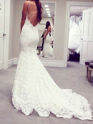 Attractive Spaghetti Straps Mermaid Lace Wedding Dresses Sweetheart Sleeveless Appliques Bridal Gowns On Sale_3