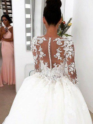 Alluring Scoop Lace Court Train Ivory Wedding Dresses Long Sleeves Appliques Bridal Gowns On Sale_4