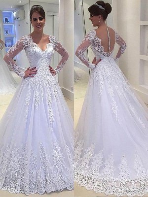Gorgeous Tulle V-neck Court Train Long Sleeves Applique Wedding Dresses | Bridal Gowns On Sale_1