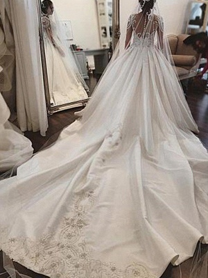 Puffy Scoop Cathedral Train Applique Wedding Dresses Long Sleeves Satin | Bridal Gowns On Sale_3