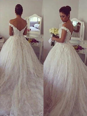 Gorgeous Ball Gown Off-the-Shoulder Lace Wedding Dresses Sweetheart Appliques Bridal Gowns with Court Train_1