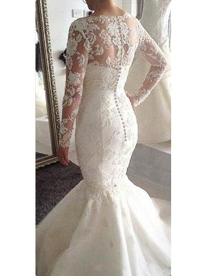 Unique Court Train Long Sleeves Wedding Dresses Tulle Applique Bateau | Bridal Gowns Online_3