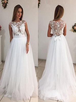 Elegant Sleeveless Sweep Train Scoop Tulle Wedding Dresses | Bridal Gowns On Sale_1