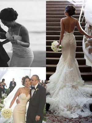 Court Train Lace Sleeveless Mermaid Wedding Dresses | Bridal Gowns Online_1
