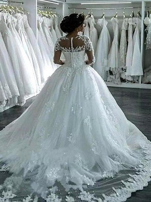 Elegant Scoop Applique Long Sleeves Tulle Wedding Dresses Puffy Chapel Train | Bridal Gowns Online_3