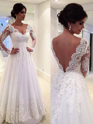 Unique V-neck Puffy Tulle Court Train Lace Wedding Dresses Long Sleeves | Bridal Gowns On Sale_4
