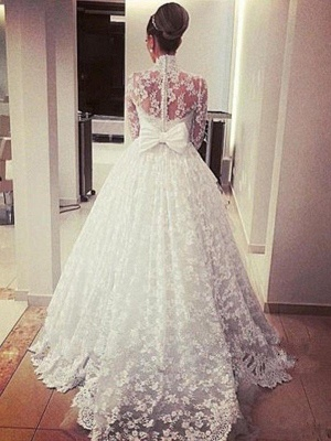 Gorgeous Cathedral Train Ribbon Wedding Dresses High Neck Lace Long-Sleeves Bridal Gowns On Sale_4