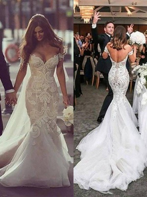 Glamorous Off-the-Shoulder Tulle Chapel Train Sleeveless Mermaid Wedding Dresses | Bridal Gowns On Sale_4