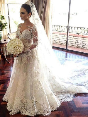Glamorous Bateau Tulle Lace Long Sleeves Chapel Train Wedding Dresses | Bridal Gowns On Sale_1