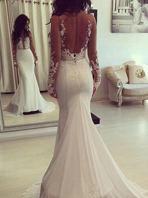 Stylish V-Neck Lace Mermaid White Wedding Dresses Long-Sleeves Appliques Bridal Gowns with Court Train_1