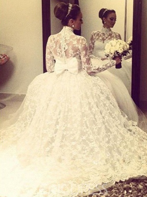 Gorgeous Cathedral Train Ribbon Wedding Dresses High Neck Lace Long-Sleeves Bridal Gowns On Sale_3