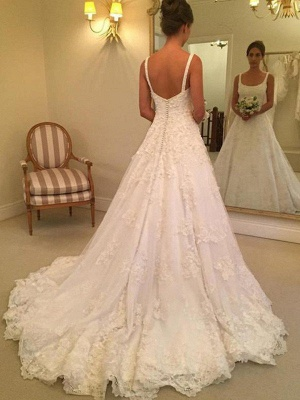 Vintage Straps Square Lace A-Line Wedding Dresses Sleeveless Appliques Open Back Bridal Gowns On Sale_1