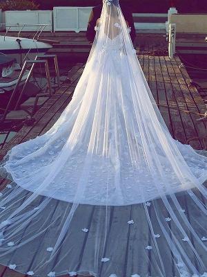 Affordable Chiffon V-Neck Satin Wedding Dresses Chapel Train Sleeveless Bridal Gowns On Sale_3