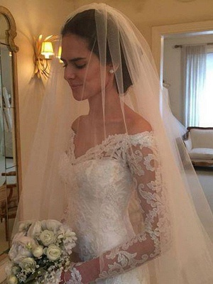 Stylish Long Sleeves Off-the-Shoulder Court Train Sheath Lace Wedding Dresses | Bridal Gowns On Sale_3