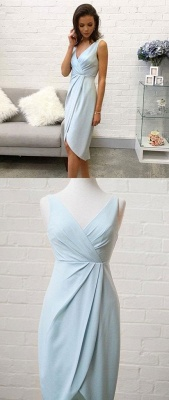 Fashion Sleeveless Flattering A-line V-Neck High Low Homecoming Dress_3
