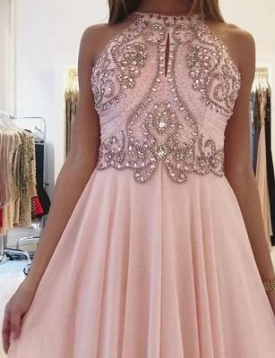 New Flattering Spaghetti Straps Beading Pink Long-Length Elegant Prom Dress Online | Suzhoudress UK_3