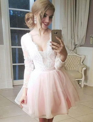 Fashion Tulle Flattering A-line Elegant Lace V-Neck Long Sleeves Short Prom Dress UK on sale_1