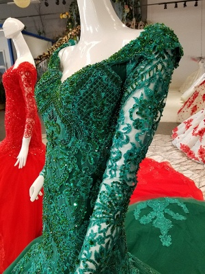 Mermaid Sparkly Beaded Chapel Train Long Sleeves Tulle Applique Prom Dress UK on sale_5