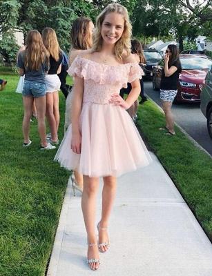 Fashion Tulle Flattering A-line Elegant Lace Off-the-Shoulder Short Homecoming Dress_1