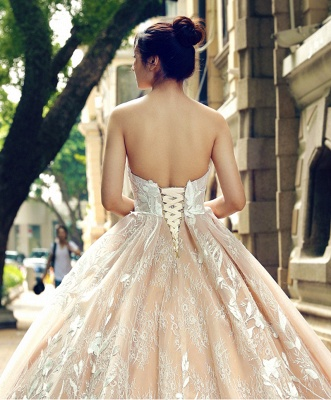 Applique Organza Strapless Ball Gown Sweep Train Prom Dress UK on sale_6