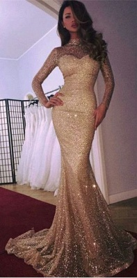 Cheap Mermaid High Neck Long Sleeves Sparkly Sequins Court Train Evening Dresses | Suzhoudress UK_4