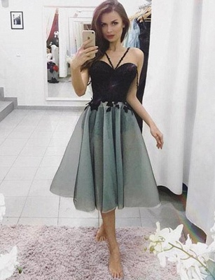 Unique Spaghetti Straps Flattering A-line Appliques Short Homecoming Dress_1