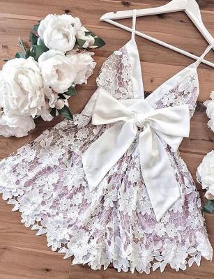 Homecoming New Lace Spaghetti Straps Bowknot Mini Flattering Elegant Prom Dress Online | Suzhoudress UK_4