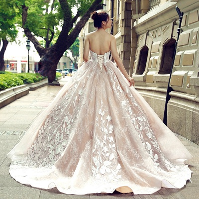 Applique Organza Strapless Ball Gown Sweep Train Prom Dress UK on sale_3