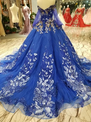 Off-the-Shoulder Long Sleeves Ball Gown Tulle Applique Court Train Prom Dress UK on sale_4
