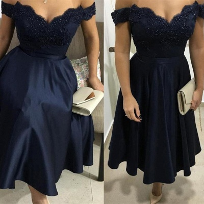 Fashion Sparkly Beaded Flattering A-line Appliques Off-the-Shoulder Tea-Length Homecoming Dress_3