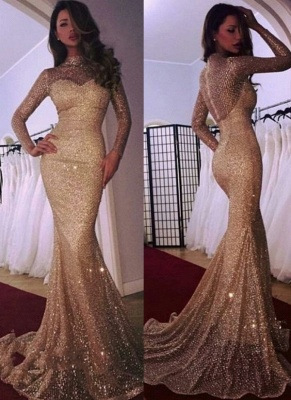 Mermaid High Neck Long Sleeves Sparkly Sequins Court Train Evening Dresses | Suzhoudress UK_1