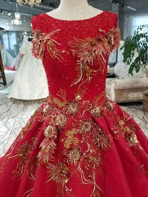 Sparkly Beaded Applique Round Neck Short Sleeves Flattering A-line Court Train Prom Dress UK on sale_7