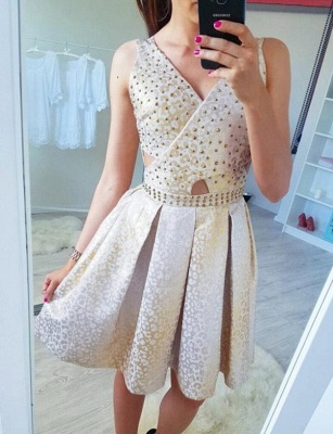 Fashion Sleeveless Flattering A-line Sparkly Beaded V-Neck Short Prom Dress UK on sale_3