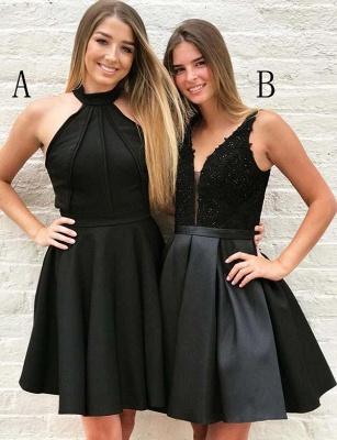 Fashion Halter V-Neck Flattering A-line Appliques Short Prom Dress UK on sale_1
