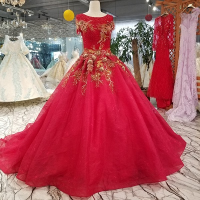 Sparkly Beaded Applique Round Neck Short Sleeves Flattering A-line Court Train Prom Dress UK on sale_1