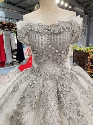 Organza Applique Ball Gown Chapel Train Short Sleeves Prom Dress UK on sale_7